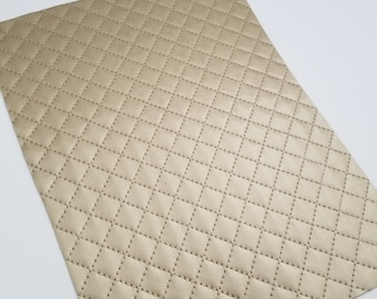 QUILTED GLOSSY: CHAMPAGNE Gold patent leather sheet,8x11 faux leather,gold quilted sheet, faux leather, gold vegan leather, quilted fabric