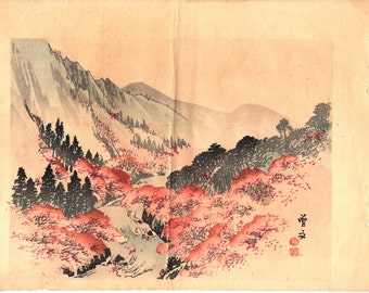 1913, Japanese antique woodcut print, Morikawa Sobun.