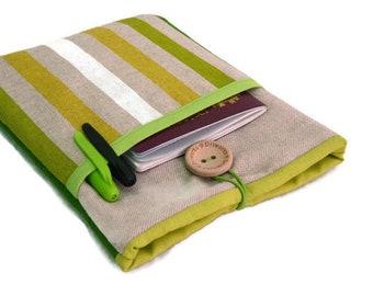 ipad mini cover, ipad mini sleeve, ipad mini 4 case, ipad mini case,  Green Stripes, ipad mini case with pocket, fabric, padded