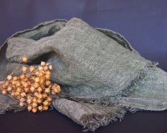 Linen Moss Green Scarf, Linen Women Accessories, Linen Gift