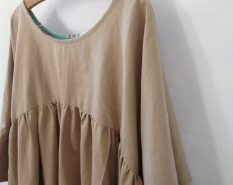 Large Womens linen dress smock Summer Gatherer Dress in Linen Cotton Tea Colour Sustainable Natural Womens Clothing Small Forest