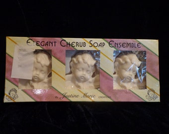 Cherub Soap Ensemble, Set of 3 Cherub Soaps by Justine Marie Creations, Scent Sational Soaps, Figural Soaps, Product of Turkey