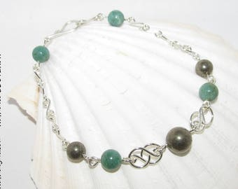 Green Jasper, Pyrite and 935 sterling silver bracelet handmade by Nathalyne