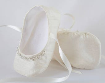 Ivory Silk  Christening/ Baptism shoes, girls soft sole beaded shoes