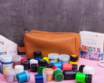 Leather cosmetic bag Cosmetic bag Toiletry bag Makeup storage Makeup organizer Makeup bag Leather makeup bag Bridesmaid case Bridesmaid gift