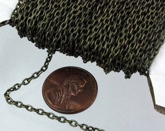 SALE Sale 50 ft spool of Antique Brass Plated Oval Round cable chain - 3x2.2mm - unsoldered link