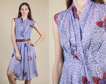 70s Sheer Floral Dress // Vintage Lavender Wrap Knee Length Dress - XS/Small