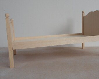 Bed frame, wooden miniature one inch scale dollhouse furniture