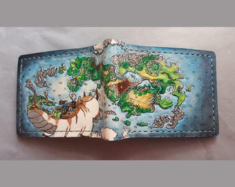 Appa world map - brown - Leather Bifold Wallet - Handcrafted Wallet -