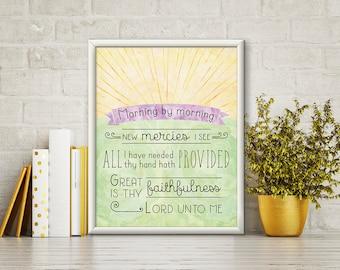 Great is Thy Faithfulness Print - Scripture Wall Art - Art Print - Hymn Print - Digital Art - Wall Art - Printable - Christian Art