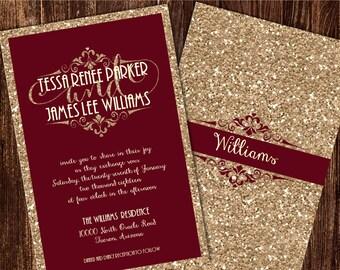 Champagne and Burgundy Wedding Invitations, Maroon Wedding Invitation, Champagne Wedding Invitations,