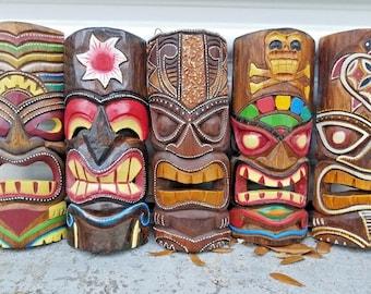"Tiki Statue Set of (5) handcarved 12"" wood unique tiki masks wall decor Tiki Bar Tiki Decor African Mask Hawaiian Masks Patio & Outdoor"