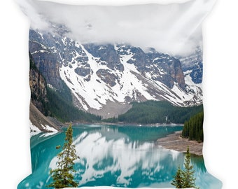 Nature Photo Pillow, Rocky Mountain Decor, Lake Pine Trees Landscape Wilderness Throw Cushion With Insert, 18x18, Nature Lover Gift, Relax