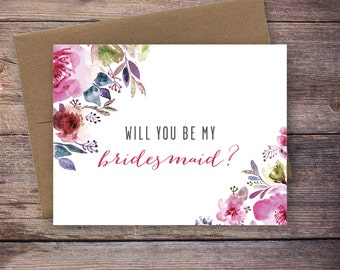 Printable Floral Will You Be My Bridesmaid Card - Instant Download Greeting Card - Will You Be My Bridesmaid - Wedding Card – Lincoln