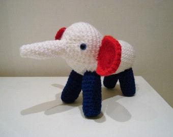 Elephant, Amigurumi Elephant, Crochet Elephant, handmade Elephant, Red White & Blue Elephant, Soft toy, Stuffed Animal