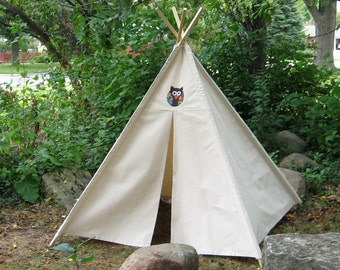 Owl Teepee, Kids Canvas Teepee, Two Sizes, Can Include Window, Kids Teepee, Tee Pee, Play Tent Kids Tent, Playhouse, Childrens Teepee