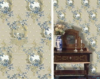 Dollhouse Miniature Wallpaper, Lune Bleue,  Scale One Inch