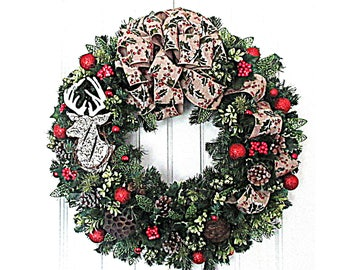 Rustic Christmas Wreath  - Red and Green Winter Wreath - Artificial Pine Wreath  - Ready to Ship Wreath