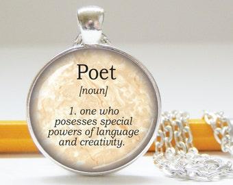 Dictionary definition pendant - poet definition - literary pendant - handmade