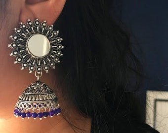 german silver mirror drop earring/jhumka