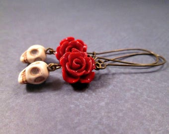 Skull Earrings, Happy Ghouls and Red Roses, Brass Dangle Earrings, FREE Shipping U.S.