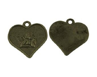 Set of 5 Angel in a metal heart charm bronze