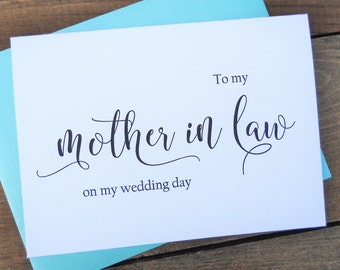 TO My MOTHER in LAW on my Wedding Day Card, Shimmer Envelope,To My Mother In Law Card, Mother in Law Card, Mother in Law Gift