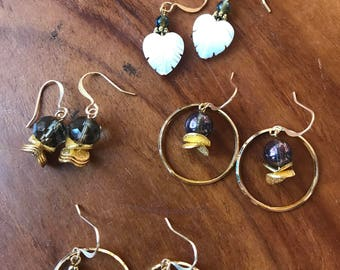 GOLD Earring Lot!! Multiple pairs - Mixed Styles: Gold (4 Pairs of Earrings!)