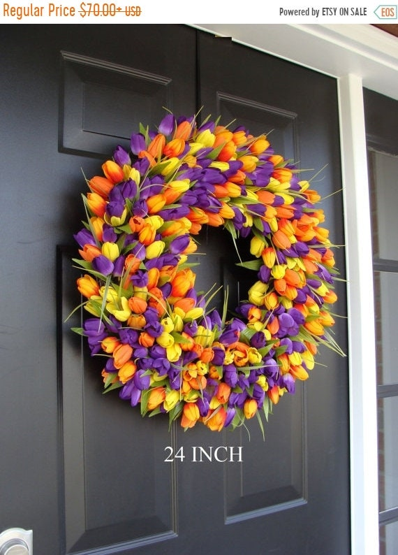 SUMMER WREATH SALE Custom Spring Wreath- Door Wreath- Tulip Wreath Custom Colors- Summer Wreath- Outdoor Spring Decor