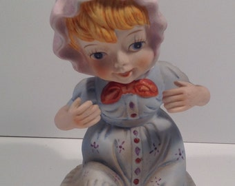 Vintage Bisque Baby figurine German made Bisque Piano Baby