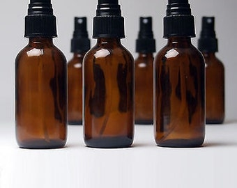Lot of 12 - 2 oz (60ml) Amber Boston Round Glass Bottles Black Fine Mist Sprayer - Essential Oil, Perfume, Floral Waters, Spritz
