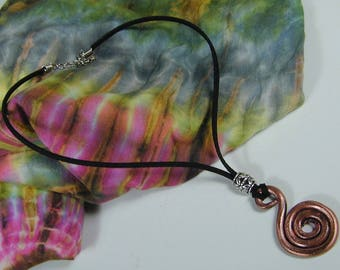Hand Forged Copper Spiral  Pendant Necklace