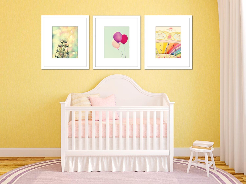 carnival art set of 3 prints girl nursery decor toddler girl
