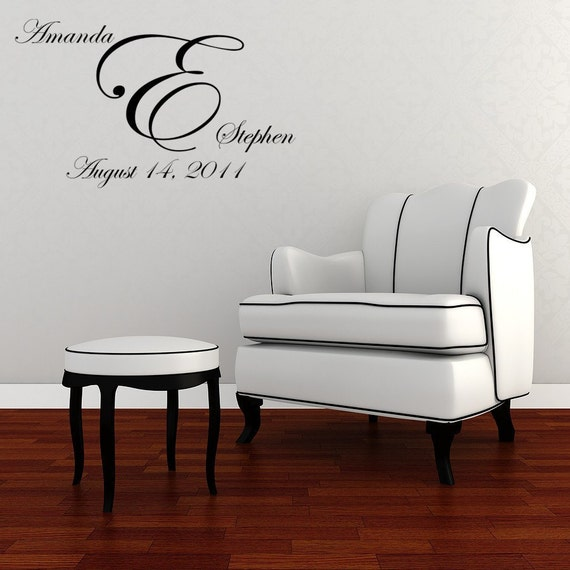 Wedding Monogram Vinyl Decal Wall Art Mural and Wedding Date