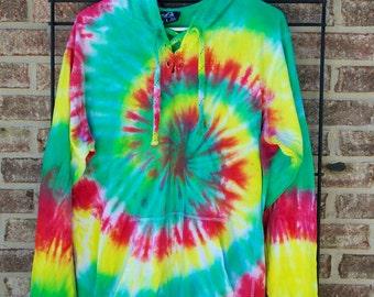 Tie Dye Hoodie Sweatshirt - Rasta - Handmade - Michigan Made - 100% Cotton with Drawstring Hood - Festival Fashion - Custom - Sizes S-3XL