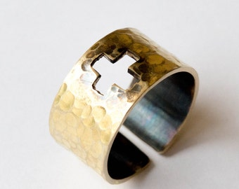 Hammered brass ring ,Mens brass ring, Wide band ring , Cross ring, Adjustable brass ring,