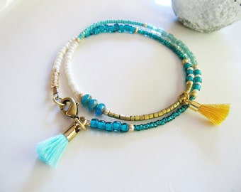 Blue Beaded Friendship Bracelet, Gold Tassel Bracelet, Gold, White Blue, Multi Strand Seed Bead Bracelet, Redpeonycreations