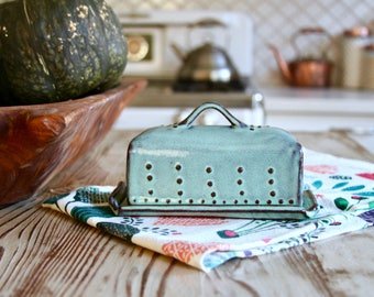Covered Butter Dish with Lid - Rustic Aqua Mist - French Country Home Decor - MADE TO ORDER