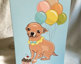Chihuahua 'n Balloons Greeting Card