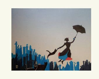 reproduction of one of my drawings: Mary Poppins cats