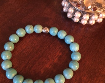 Blue magnesite stretch bead bracelet