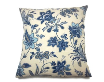Decorative Pillow Cover Navy Blue Denim Blue  White Taupe Ecru Floral Design Accent Toss Throw Same Fabric Front/Back 18x18 inch x