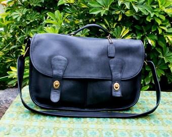 Vintage Coach Black Large Carrier Leather Messenger Briefcase Work Satchel Bag Purse Crossbody