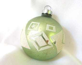 Green Christmas Ornament with White Mica Shapes, Vintage Christmas Ornament, USA