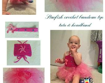 Infant Girls' Starfish Crochet Bandeau Top, Tutu, & Headband