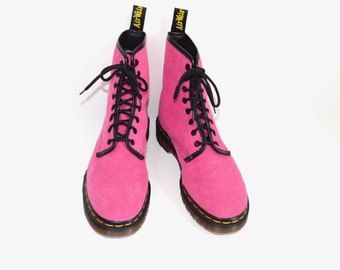 Uk 5~Very Rare Mint Vintage Hot Pink Terrycloth 1460 D. Martens -England-UK size 5 = US Men's size 5.5 = US Women's 7 to 7.5