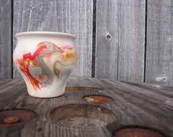 Vintage Swirl Painted Desert Pottery Orange and Gray Vase Southwest Native American
