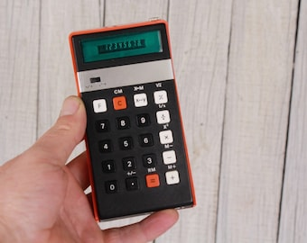 Vintage calculator elka 131, Portable calculator, Pocket calculator, VFD display calculator, Desk accessories 70's, 70s counting tools