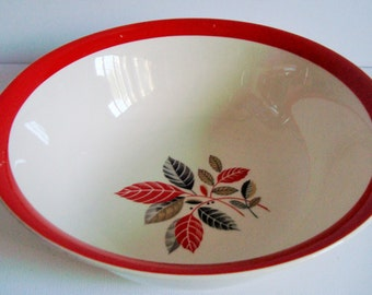 Alfred Meakin red and black leaf serving bowl Made in England