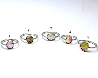Lots of Natural watermelon tourmaline smooth slices bezels rings | sterling silver genuine bi tourmaline ring | tourmaline ring